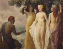 """Judgment of Paris"" by Louis Grell 1937 oil on canvas"
