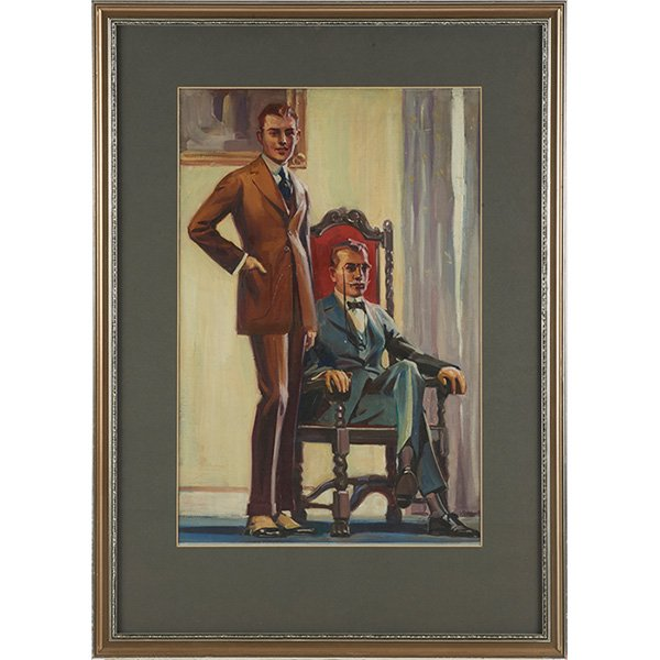 Louis Grell oil on board two boys