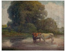 """Agrarian Art, Two Cows in River"""