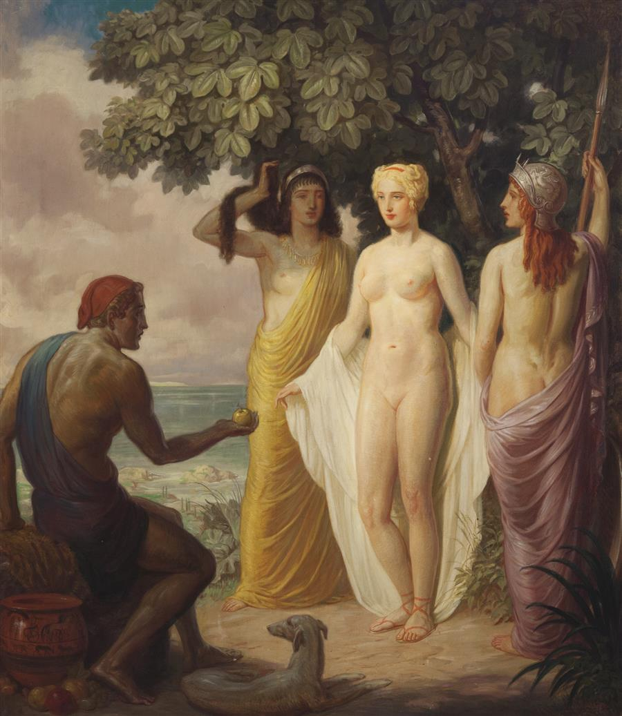Judgement of Paris by Louis Grell 1937 oil